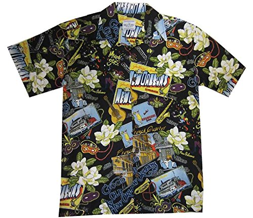 New Orleans Mardi Gras Hawaiian Camp Shirt by David Carey (M)