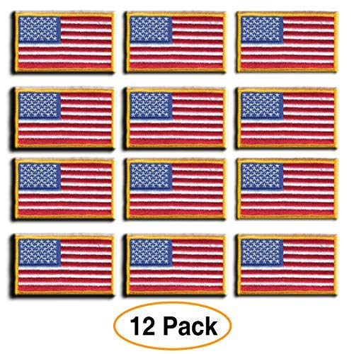 12 Pack - American Flag Embroidered Patch, Gold Border USA United States of America, US Flag Patch, sew on, Military/Army / Police Flag
