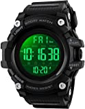 Men Large Dial Digital Sport Watch Militray Watch with LED Backlight Waterproof Electronic Watch for Men