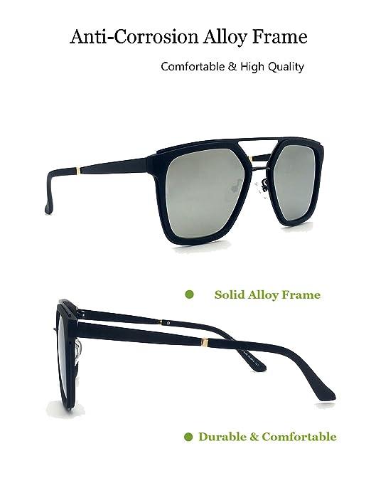 Aviator polarisierte Vintage Sonnenbrille Damen - Dada-Pro Flat Top Rahmen unzerbrechliche Gläser (Silber) YUosIZ2DM