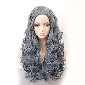 GAIHU Kinky Curly Ombre Gris Natural Sintético peluca cabello largo para la mujer resistente al calor