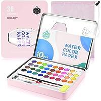 PACETAP Set de Pintura de Acuarela, 36 Colores Vibrantes, Pigmento de Pintura de Arte, con Pinceles Lápiz de carbón en Caja de Lata de Metal - Perfecto para Artistas y niños (Rosado)