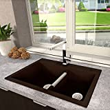 Kitchen Sink. Atlantis Brown Double Bowl Granite 60/40 Food Safe And Hygienic Premium Finish Kitchen Sink -- Top or Under Mount, Resists Heat, Will Not Fade In Color, Scratch Resistant, Template And Hardware Included