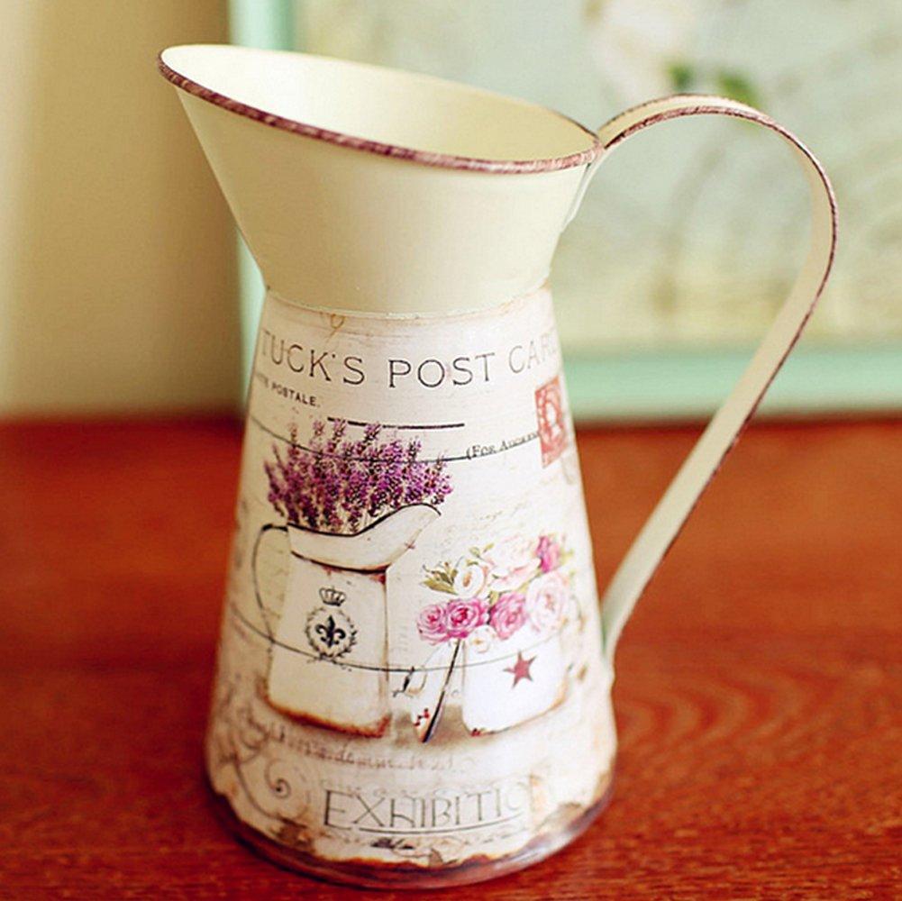 Vancore ( TM )アメリカンスタイルHamletシミュレーション花シックミニメタルピッチャー花瓶、ホームデコレーション ピンク HD-VA00355-Rose-ADD B06Y2ZFRGD ローズ ローズ
