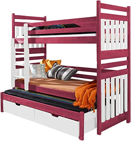 Ye Perfect Choice Triple Bunk Bed Sambor Modern High Bed Drawers Ladder 3 Children Trundle Bed Pine Wood 2 Sizes Left Hand Side Shorter Size Amazon Co Uk Kitchen Home