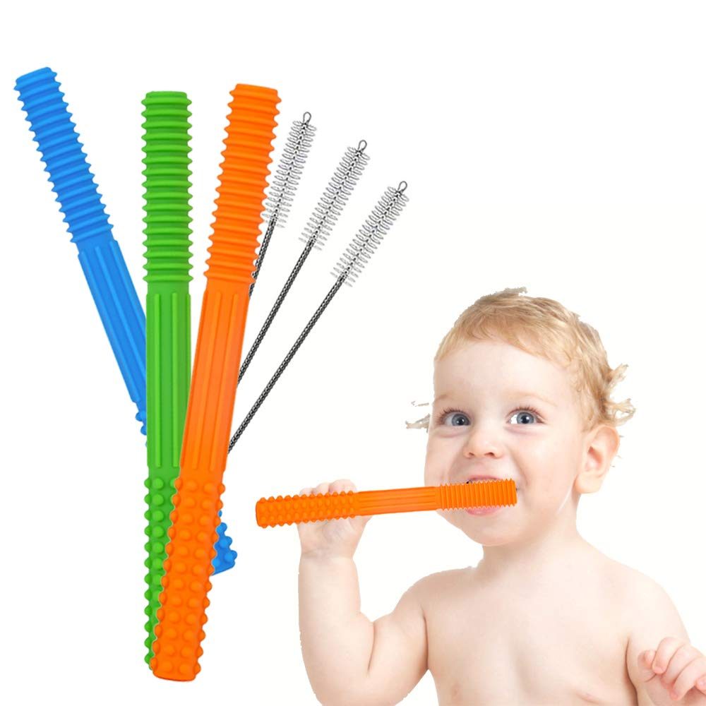 HATIKY Teething Tubes -Soft Silicone Baby Teether Toys-Helps Soothe Teething for Babies 0-6 / 6-12 Months - Durable Hollow Food Teethers for Infant and Toddlers(3 Pack)