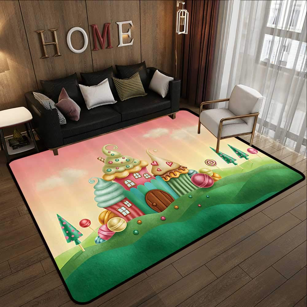 Pattern05 71 x 81.5 (W180cm x L210cm) Floor mat,Teen Girls Decor Collection,Cartoon Fairy Tale Castle Rainbow Clouds on Summer Sky colorful Illustration,bluee Green Pink 63 x 94  Indoor Outdoor Rubber Mat