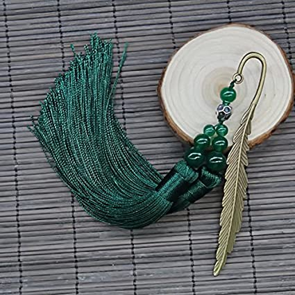Gelaiken Chinese Style Metal Leaf Bookmarks Beads Bookmark with Tassel Paper Mark Gifts