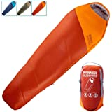 WINNER OUTFITTERS Mummy Sleeping Bag with Compression Sack, It's Portable and Lightweight for 3-4 Season Camping, Hiking, Tra