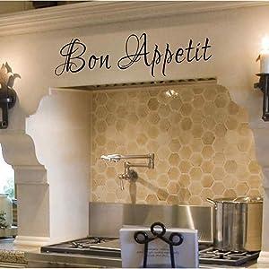 "Bon Appetit Italian Vinyl Wall Decal for Dining Room Kitchen(Black,6"" h x22 w)"