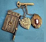 Chatelaine Brass Miniature Dance Card Purse Opens to Paper, Hanmad Mechanical Pencil, Powder Sachet Heart, Victorian Cameo Locket Key Brooch. One of a Kind