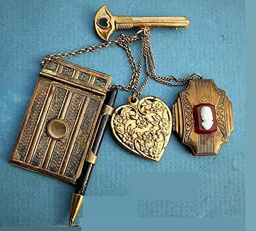 Chatelaine Brass Miniature Dance Card Purse Opens to Paper, Hanmad Mechanical Pencil, Powder Sachet Heart, Victorian Cameo Locket Key Brooch. One of a Kind by EMENOW