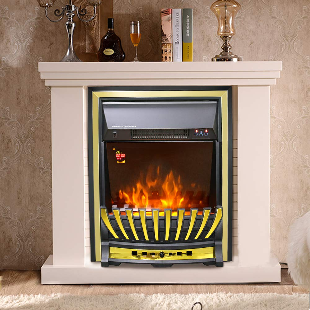 Lincsfire Modern Wickenby 2000W Inset Electric Fireplace Real Log Flame Effect Indoor Stove Heater | Remote Control | Timer | Time/Temperature Display Manufactured for Lincsfire