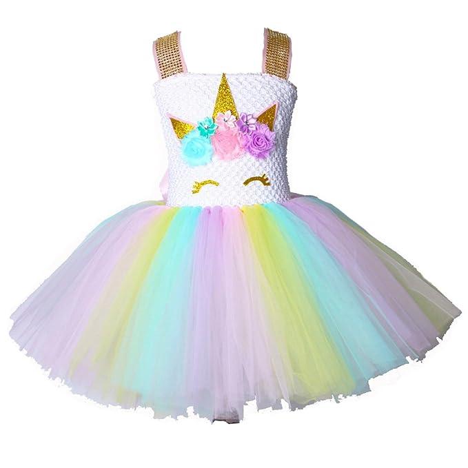 Vestido de princesa Unicornio Tutu para niñas Vestido de fiesta de cumpleaños de flores para niños