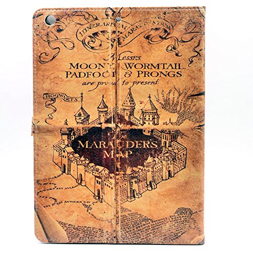 YHB iPad 2017 iPad 9.7-inch Case, The Marauders Map Vintage Magic School Pattern Leather Flip Stand Case Hard Back Cover for Apple iPad 9.7-inch 2017/2018
