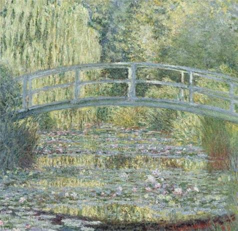Oil Painting 'Bridge Over A Pond Of Water Lilies By Claude M