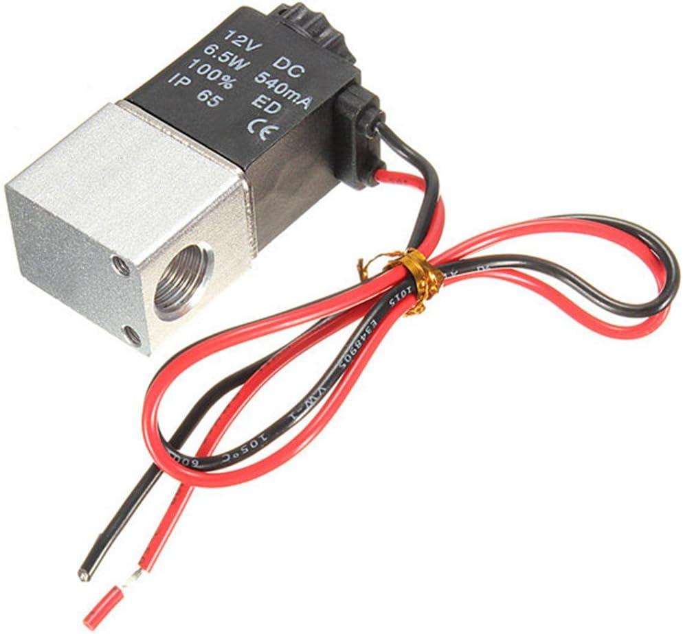Válvula de aire eléctrica solenoide, 1/4 pulgadas DC 12 V 2 vías normalmente cerrado neumático de aluminio electroválvula de aire