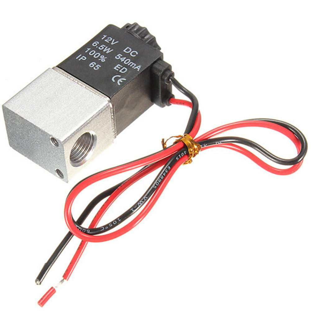 Electric Solenoid Air Valve 1/4inch DC 12V 2 Way Normally Closed to Control On/Off of Air and Inert Gas(2V025-08) EMVANV