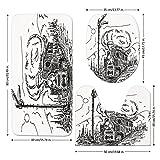 3 Piece Bathroom Mat Set,Steam Engine,Black and White Old Train on Railroad Sketch Effect Vintage Traveling Print,White Black,Bath Mat,Bathroom Carpet Rug,Non-Slip
