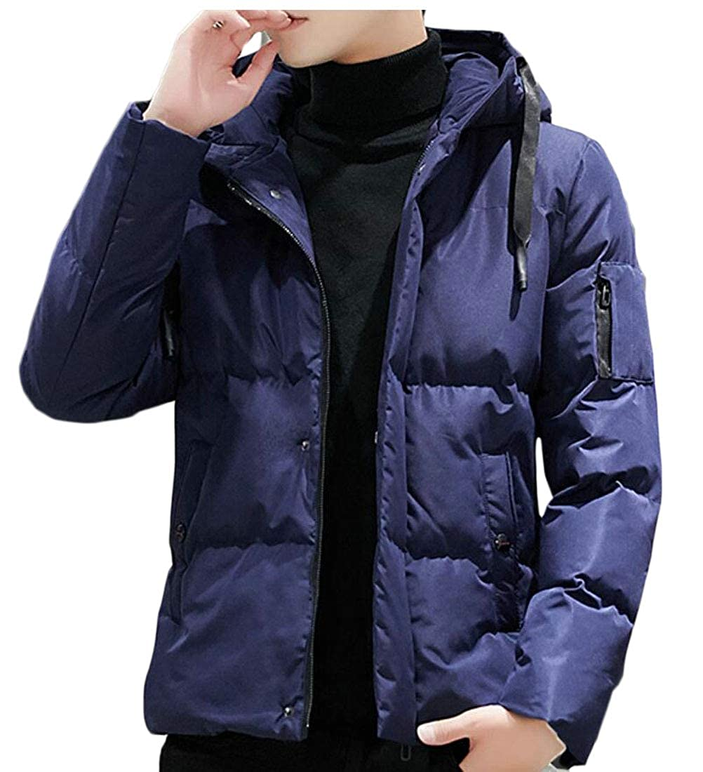 ouxiuli Mens Down Jacket Puffer Coat Thicken Warm Winter with Hood