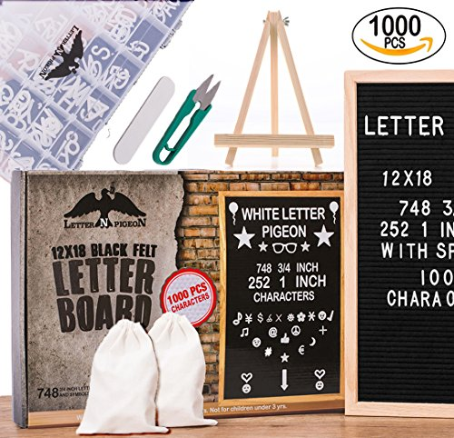 "Letter Board 12x18 Black Felt 1000 Characters MEGA BUNDLE GIFT READY PACKING Changeable Letters Numbers Symbols Emojis ( 748 ¾"" & 252 1"") Organizer Box Cutter / Letter Pouch / (Nursery Sign Board)"