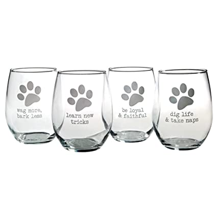Amazon Com Funny Dog Quotes Stemless Etched Wine Glasses Set Of