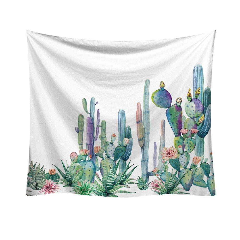 Yattafasion Tapestry Wall Hanging - Green Cactus Pattern Tapestry Wall Tapestry Bedspread Bedding Home Decor