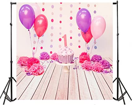 Wofawofa Kids Birthday Backdrop 5X5FT Vinyl Cake Smash Backdrops Golden Banner Balloons Dessert Table Wallpaper Photography Background for Boys Girls Happy Birthday Party Photo Studio Props KX886