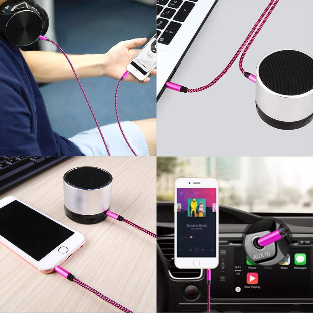Tablet /& More HTC iPhone Samsung Galaxy AUX Cord for Car iPad Braided Stereo AUX Chords Compatible Headphone Car iPod LG Google Pixel Ailkin 2 Pack 3.5mm Auxiliary Audio Cable