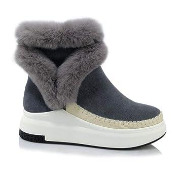 YAN Botas para Mujer de Gamuza Botas para la Nieve Botas de Invierno para Mujer Calientes Botines de Plataforma Plana Zapatos Negros Negros: Amazon.es: ...
