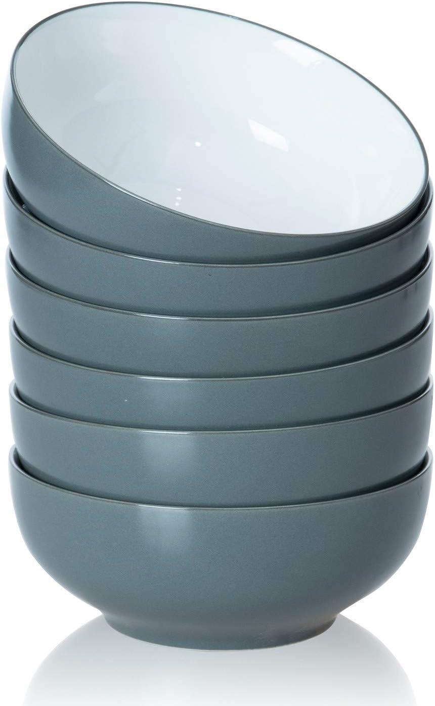 TGLBT 20-Ounce Porcelain Bowl Set for Soup/Cereal - 6 Packs, Gray