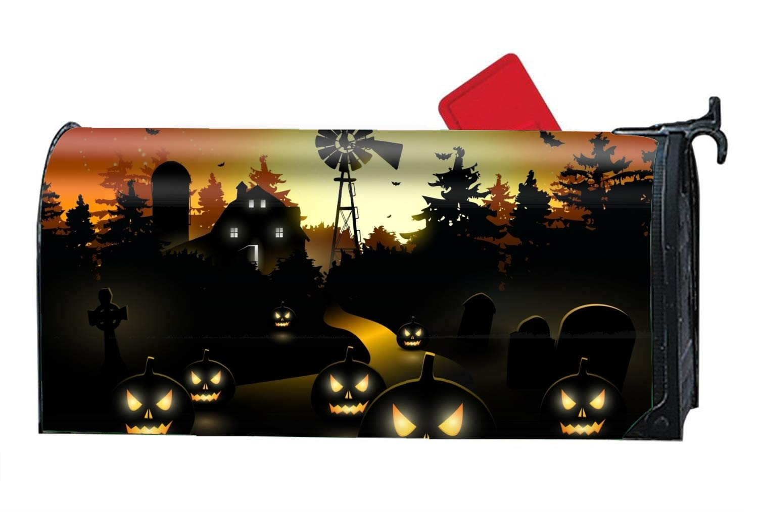 FONDTHEE Holiday Halloween Smiling Pumpkin Lamps Personalized Mailbox Cover Magnetic Spring Summer Fall Winter for Standard Mailboxes