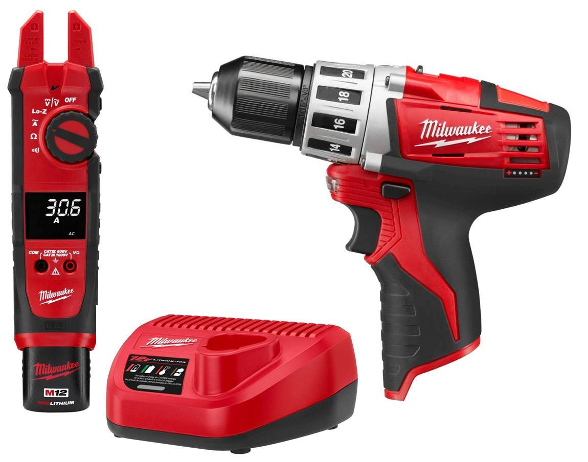 milwaukee m12 logo. milwaukee 2207-21p m12 12v cordless fork meter with 2410 drill combo kit - stud finders and scanning tools amazon.com logo 2