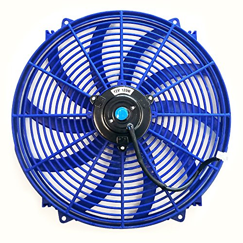 Cadillac Radiator Fan - Upgr8 Universal High Performance 12V Slim Electric Cooling Radiator Fan With Fan Mounting Kit (16 Inch, Blue)