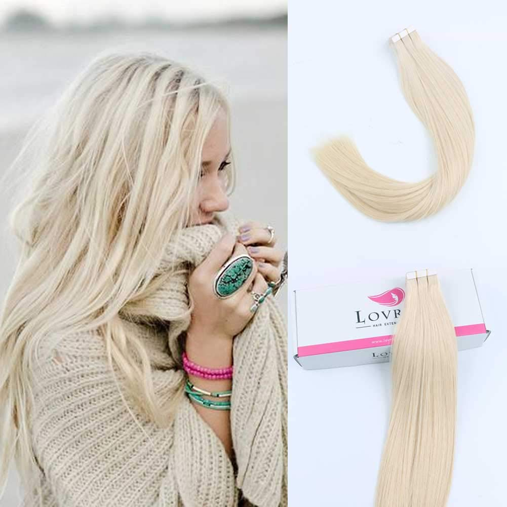 Lovrio 14'' 20pcs 50g Remy Straight Tape in Hair Extensions Human Hair 60 Platinum Blonde by Lovrio