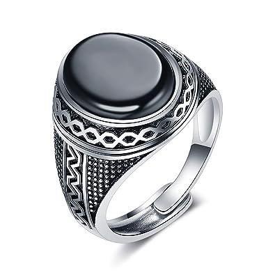 8e08c7aaeaeff JiangXin Argent Sterling 925 Bague Homme Luxe Classique Agate Ovale ring  taille de Bagues changer noire