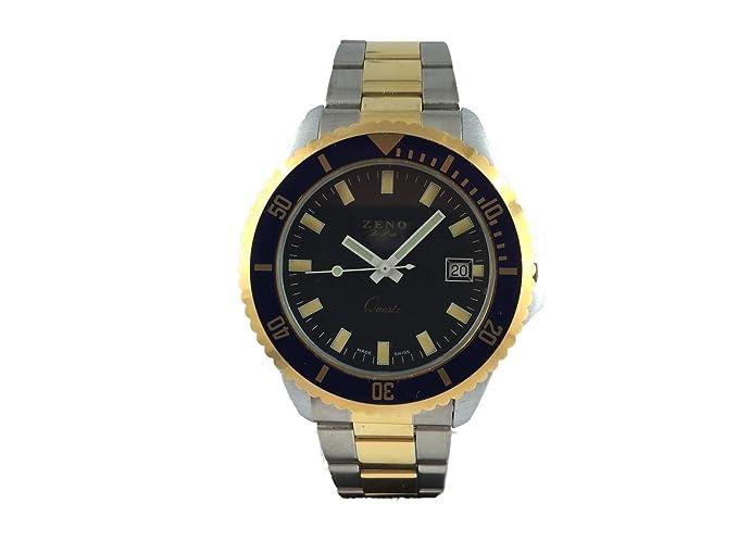 Reloj Suiza Zeno, estilo plongé, luneta ajustable, pulsera metal, agujas fosforescentes