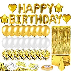 iZoeL Décoration fête anniversaire Or Ballon Kit Bannière Joyeux Anniversaire, Nappe Or Rideau à Franges, 24 Ballons…