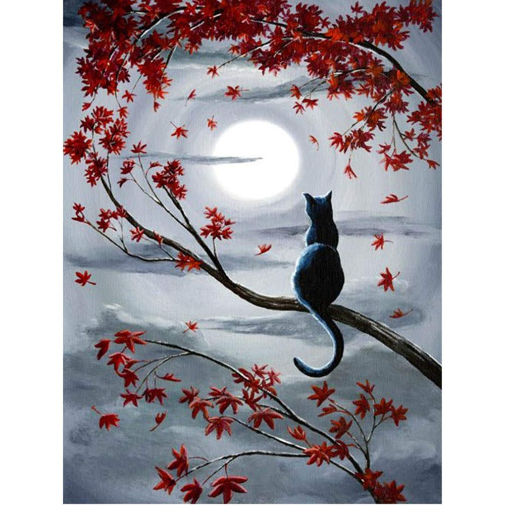 Moohue Beginner 14ct Counted Cross Stitch Kits Cat and Moon Handwork Embroidery Pattern DMC Cotton Thread Aida Cloth Needles Wedding Gifts Bedroom Decor(Cat and Moon) QAZWSX WSX036