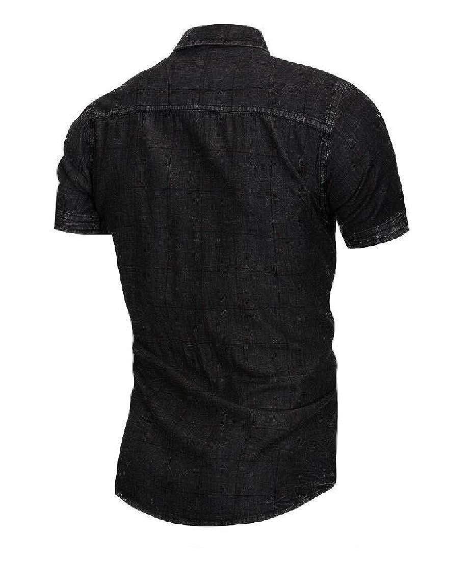 RSunshine Mens Denim Cropped Short Sleeve Shirt