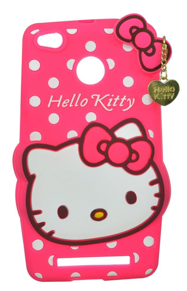size 40 30731 966f4 ERIT Cute Hello Kitty Girl's Silicon Back Cover with Pendant for Xiaomi  Redmi 3s Prime (Pink)
