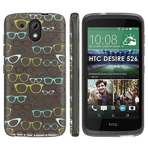 [Mobiflare] HTC Desire 526 TPU Silicone Phone Case [Black] Ultraflex Thin Gel Phone Cover - [Eye Glasses] for HTC Desire 526 [4.7