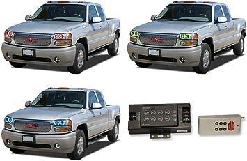 RGB Multi-Color LED Halo Ring Headlight Fog Light Kit for GMC Sierra 1500 08-13