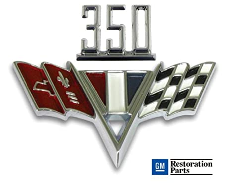 Amazon Chevy 350 V Flag Fender Emblem Set Automotive