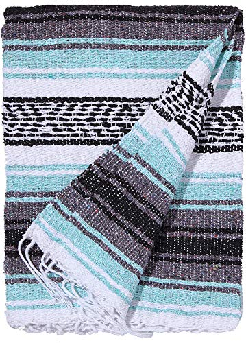 El Paso Designs Genuine Mexican Falsa Blanket - Yoga Studio Blanket, Colorful, Soft Woven Serape Imported from Mexico (Cool Mint & Gray) by El Paso Designs (Image #1)