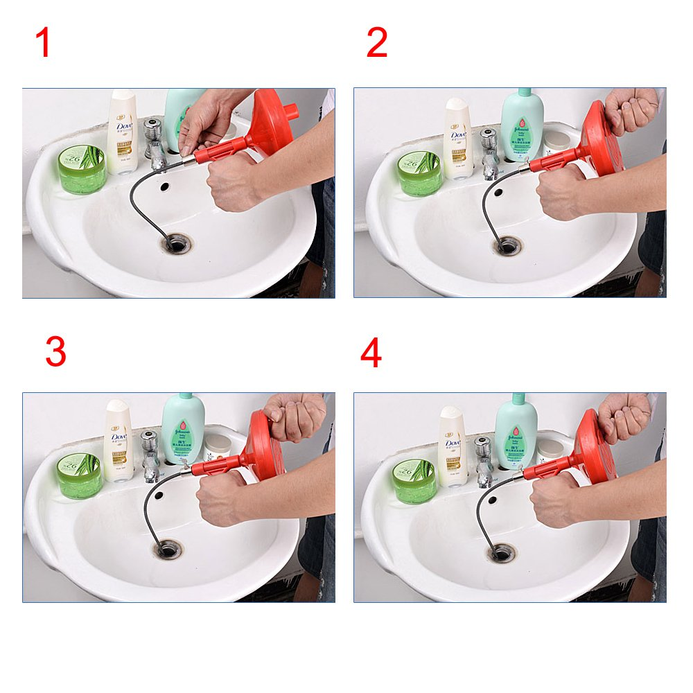 B1ST Toilet Auger Drain Augers Toilet Snakes Handheld Plumbing Pipe Plummer Snake Closet Cleaner Drum Tool Drain Unblocker Sewer Snake with Metal Spring-Steel Cable for Bathroom Sink by B1ST (Image #7)