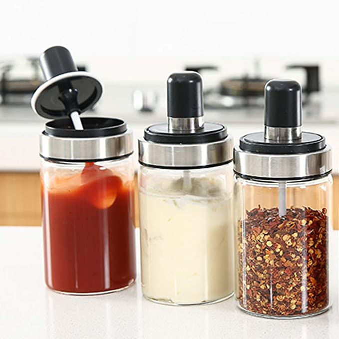 Magnetic Spice Jar Set Storage Tins Container Pepper Seasoning Spray Tool Box 1x