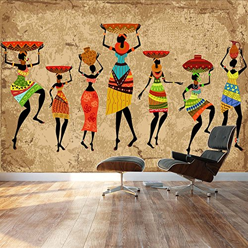 Large Wall Mural Abstract Art African Woman on Grunge Background Vinyl Wallpaper Removable Decorating