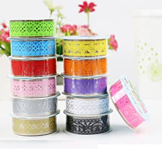 Multicolor Washi Lace Pattern Glitter Self-adhesive Lace Tape Sticker for DIY Crafts and Decoration, Set of 7