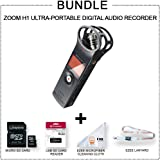 Zoom H1 Handy Portable Digital Recorder MORE VALUE Bundle +SD card +SD Card Reader + Lanyard + Microfiber Cloth
